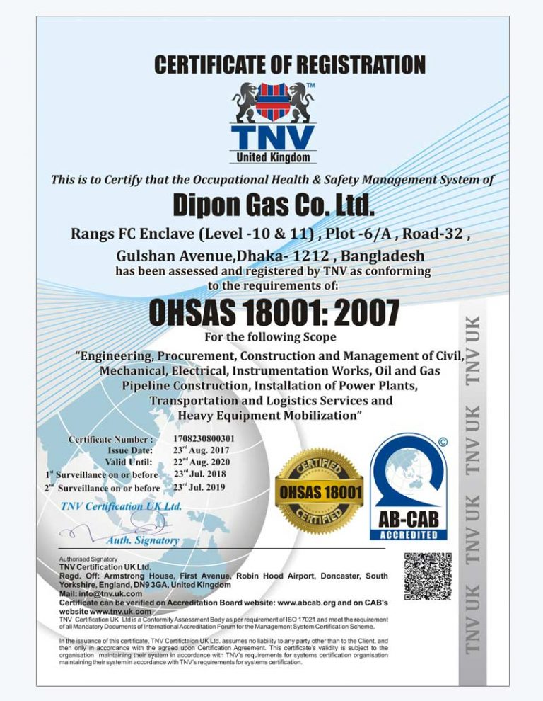 Dipon Group OHSAS 18001:2007 Certificate